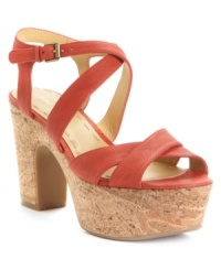 Keep people guessing with the natural cork platform of the Guessagain sandal by Nine West. The chunky heel gives lift to the rich leather straps. (Clearance)