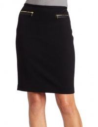 Calvin Klein Women's Faux Leather And Zip Detail Pencil Skirt