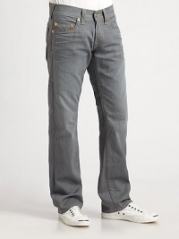 A low-rise classic is cut with straight legs and a comfortable fit in pigment-dyed grey denim. Five-pocket styleStitched back pocketsInseam, about 34CottonMachine washMade in USA