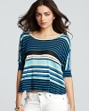 The comfort of a tee meets bold details on this Velvet by Graham & Spencer striped top.