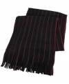 Pinstripes in a way you probably haven't worn them before: Up and down a cozy winter muffler from Tallia.