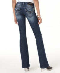 Get a curve-hugging fit with these Miss Me jeans, complete with a perfectly worn-in wash and flattering bootcut leg.