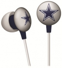 iHip NFF10200DAL NFL Dallas Cowboys Mini Ear Buds, Blue/Silver