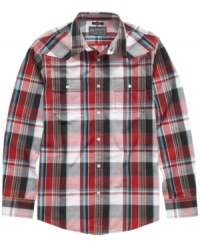 Get pumped up with plaid. Classic style will be all yours in this stylish shirt from American Rag.