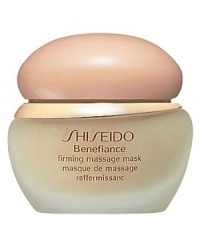 Shiseido Benefiance Firming Massage Mask. When massaged into skin, this super-hydrating, gel mask promotes suppleness and firmness, while eliminating fatigue. Use weekly following skincare routine. Mask may be tissued or rinsed off. Use with the Shiseido Facial Massage Method.