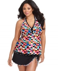 Flirty ruffles make a sunny splash on this Profile by Gottex plus size skirted bottom!