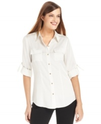 Calvin Klein's blouse is a classic silhouette that needs to be in your closet for everything from work to weekend wear!