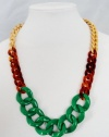 Gold Chunky Link Chain w/ Green and Tortoise Shell Links