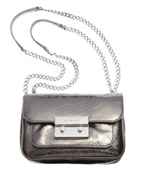 Get your shine on all night long with this glam little goodie from MICHAEL Michael Kors. Crafted from cool, croc-embossed leather with signature detailing, it's sized-right for your out-all-night essentials.