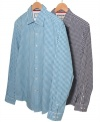 An allover check on these slim-fit checkered shirts from Club Room add a stylish spin to your wardrobe.
