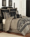 PEM America Luciel Lace Queen 8 Piece Comforter Bed In A Bag Set Taupe/Black