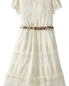 Bloome Girls 7-16 Short Sleeve All Over Lace Dress with Animal Print Functional Belt, Cream, 16