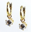 Macy's Earrings, 18KT Gold Over Sterling Silver Small Hoops with Cubic Zirconia Drop Earrings
