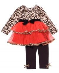 Your little kitten will go wild for this fun cheetah print tunic with attached tutu skirt and matching leggings by Rare Essentials.