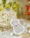 Shiny Crystal Diamond Guitar USB Flash Drive with Necklace:8GB(Silver)