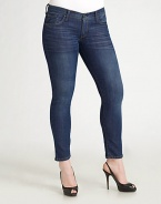 Sleek, stretchy body-skimming denim for your most flattering fit. THE FITSleek fit at waist and hips Skinny-leg style Rise, about 8¾ Inseam, about 29THE DETAILSZip-fly and button closure Five-pocket style Contrast topstitching 85% cotton/12% polyester/3% spandex; machine wash Made in USA