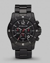 A sporty watch with three-eye chronograph functionality in stainless steel and black IP. Round bezel Water resistant to 10 ATM Date function at 4 o'clock Second hand Stainless steel case: 45mm (1.77) Deployment clasp Imported