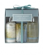 A perfect way to sample this limited edition Sea Grass Collection. Be transported to the seashore with a warm, breezy air of a relaxing summer day. Made from the freshest ingredients including a combination of citrus bouquet, sparkling notes of crisp greens, calming florals and hints of Cedar and Sandalwood. The essence of tranquility. Set includes: 10 oz. Hand and Body Lotion, 10 oz. Hand and Body Wash and 6 oz. individually wrapped Soap.