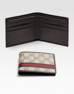 Classic billfold in GG plus fabric with signature web detail.Two billfold compartmentsSix card slotsLeather4W x 3½HMade in Italy