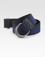 Casual chic belt crafted in nylon with leather trim.Metal buckleLogo detailAbout 1½ wideMade in Italy DUE TO HIGH DEMAND, A CUSTOMER MAY ORDER NO MORE THAN 3 UNITS OF THIS ITEM EVERY THIRTY DAYS.