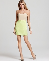 A neutral bodice offsets a hyper-bright skirt on this revel-ready Laugh Cry Repeat strapless dress.