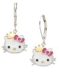 Royal and resplendent. Hello Kitty's princess kitty drop earrings are set in sterling silver with a 14k gold over sterling silver crown and bright enamel accents. Approximate drop: 1-1/5 inches.
