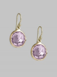 From the Lollipop Collection. Softly hued faceted amethyst drops, simply and gracefully set in 18k yellow gold. Amethyst 18k yellow gold Drop, about 1 Diameter, about ½ Ear wire Imported