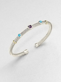 From the Renaissance Collection. An artistic style with faceted amethyst and smooth turquoise set on a sterling silver cable design accented in radiant 18k gold. Sterling silver18 goldAmethyst and turquoiseDiameter, about 2.5Slip-on styleImported