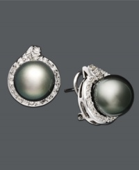 Every woman deserves a little extra glitz and glamour. These scintillating studs should do just the trick. Earrings feature a cultured Tahitian pearl at center (11-12 mm) with round-cut diamonds surrounding (3/4 ct. t.w.). Set in 14k white gold. Approximate diameter: 1 inch.