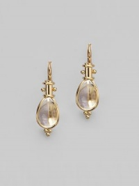 A glistening drop of rock crystal, cradled in an artful setting of 18k yellow gold with dot granulation accents. Rock crystal 18k yellow gold Drop, about ½ Pierced Made in Italy