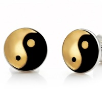 Mens Yin & Yang Stainless Steel Metallic Stud Earrings