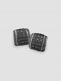 Engraved sterling silver is trimmed with rows of diamond-cut, black sapphires. 1.83 tcw About ¾ X ¾ Made in USA