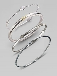 A slender sterling silver bangle accented with five radiant diamonds. Diamonds, 0.15 tcw Sterling silver Diameter, about 2½ Imported Please note: Bracelets sold separately.