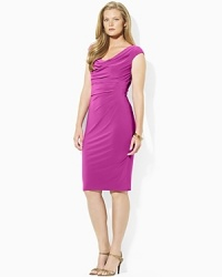 An elegant cowl neckline and slinky ruched waist lend chic modern style to a fluid matte jersey dress, finished with a hint of stretch for a flattering fit.