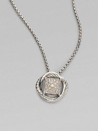 From the Infinity Collection. Gracefully intertwining bands of sterling silver, one cabled, one smooth, surround a center of radiant pavé diamonds that suspends from a silver box chain. Diamonds, 0.18 tcw Sterling silver Chain length, about 17 Pendant diameter, about ½ Lobster clasp Imported