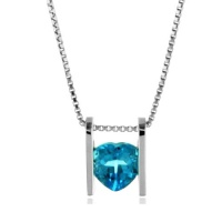 Sterling Silver Blue Topaz Heart Pendant/Necklace with 18 Box Chain