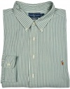Ralph Lauren Mens Green White Striped Classic Fit Dress Shirt 4XB XXXX-Big