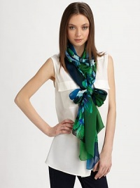 EXCLUSIVELY AT SAKS. A colorful floral print on luxurious silk. SilkAbout 28 X 110Dry cleanMade in Italy