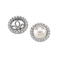 CleverEve Luxury Series One Pair of 14K White Gold 5/8 ct. tw. Diamond Pearl Earring Jacket Mounting