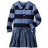 Nautica Sportswear Kids Baby-girls Infant Long Sleeve Striped Rugby Top With Attached Chambray Skirt, Cadet Blue, 12 Months