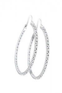 Studio 925 Ultimate Zenith Circle of Fire Diamond CZ In-n-Out Sterling Silver Hoop Earrings